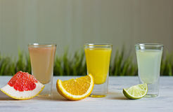 Fresh citrus juices with fruits. On a white background with grass Royalty Free Stock Images