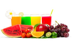 Fresh citrus juices. Isolated over white royalty free stock image