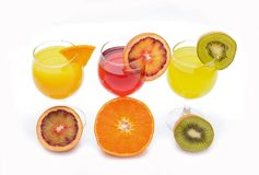 Fresh citrus juices isolated on white background Stock Image
