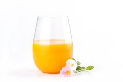 Fresh citrus orange juice with beautiful pink rosemoss flowers o Royalty Free Stock Image