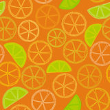 Fresh citrus outline seamless pattern Stock Images