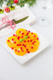 Fresh citrus salad with oranges and pomegranate seeds for winter Royalty Free Stock Photo