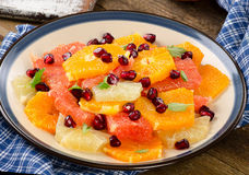 Fresh Citrus Salad with pomegranate seeds Royalty Free Stock Photos