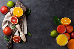 Fresh citruses and juice Royalty Free Stock Photo