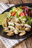 Fresh clams with lime and greens and mix salad close-up. vertica Stock Photography