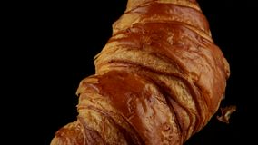 Fresh classic croissant. Baked French classic croissant on black background stock video footage
