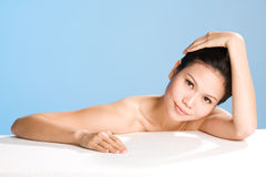 Fresh clean face of Young woman. Refreshing and clean face of young woman feels relaxing Stock Photography