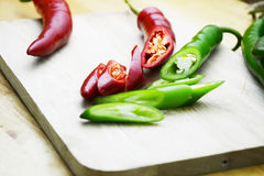 Fresh and clean red and green chili Stock Photography