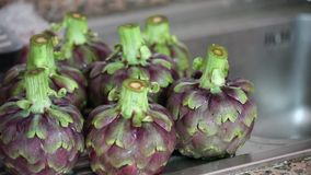 Fresh Cleaned Artichokes stock video footage