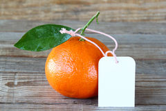 Fresh clementine with label Royalty Free Stock Image