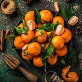 Fresh clementines tangerines with spices on dark greeen backgr. Ound, top view. Winter or Christmas food concept. square image Royalty Free Stock Image
