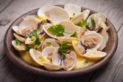 Fresh Cockle clams (Venus, Meretrix) with wine sauce. Portuguese Stock Photos
