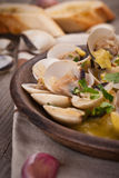 Fresh Cockle clams (Venus, Meretrix) with wine sauce. Portuguese Stock Image