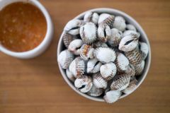Fresh cockles with chili dip on wooden table. Cockles with chili dip on wooden table. It is a delicacy among Asians Stock Photos