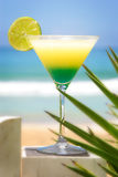 Fresh cocktail. Tropical cocktail with lemon in sea background Royalty Free Stock Photography