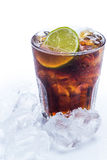 Fresh cocktail with cola drink and lime Royalty Free Stock Photography
