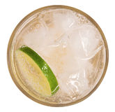 Fresh cocktail lemonade, honey lemon soda with lime slice and mi Stock Photos
