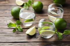 Fresh cocktail with lime and mint Stock Photography