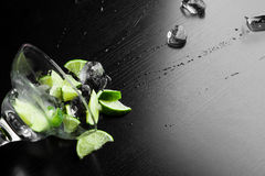 Fresh cocktail with lime slices Royalty Free Stock Image