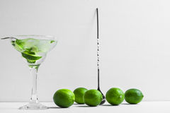 Fresh cocktail with lime slices Stock Photos