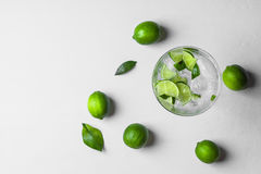 Fresh cocktail with lime slices Royalty Free Stock Photo