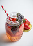 Fresh cocktail with strawberry and basil in glass Royalty Free Stock Photography