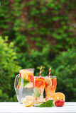 Fresh cocktail with strawberry, orange, mint and ice Royalty Free Stock Image