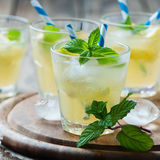 Fresh cocktail witn soda, lemon and mint Royalty Free Stock Photography