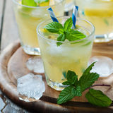 Fresh cocktail witn soda, lemon and mint Royalty Free Stock Images