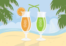 Fresh cocktails on idealistic sand beach Royalty Free Stock Image
