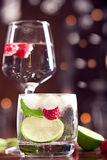 Fresh cocktails. With mint and raspberry on the brown table Stock Image