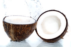 Fresh coco. With poured water Stock Image