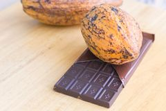 Fresh cocoa pod and chocolate bar on the wooden background Stock Images
