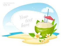 Fresh Coconut Cocktail with Plumeria Flowers, straws and Umbrella on the Island Beach. Summer Time Vacation Attribute. Vector stock illustration
