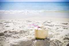Fresh coconut cocktail on tropical beach Royalty Free Stock Photos