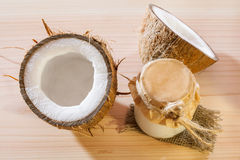 Fresh coconut and coconut butter Stock Image