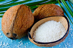 Fresh coconut and coconut chips. Preparation of desiccated cocon Royalty Free Stock Photos
