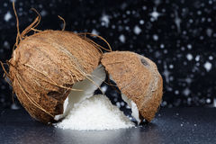 Fresh coconut and coconut desiccated Stock Photos