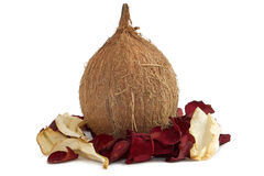 Fresh coconut with dried rose petals Stock Photography
