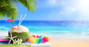 Fresh Coconut Drink. In Tropical Beach stock images