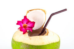 Fresh coconut drink. Stock Photo