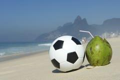 Fresh Coconut Football Soccer Ball Ipanema Beach Rio Royalty Free Stock Images