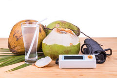 Fresh coconut juice helps to lower blood pressure and hypertensi Stock Photography