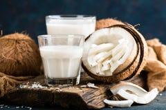 Fresh coconut milk in glass royalty free stock image