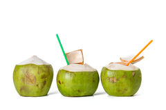 Fresh coconut. Row of fresh coconut on white background stock photo