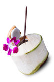 Fresh Coconut Water Drink. On white background Royalty Free Stock Photo