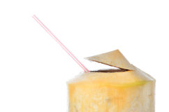 Fresh Coconut Water Drink. On white background Stock Photo