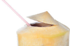 Fresh Coconut Water Drink. On white background Stock Image