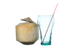 Fresh Coconut Water Drink. On white background Stock Photography