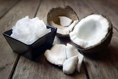 Fresh coconuts and coconut oil stock photography